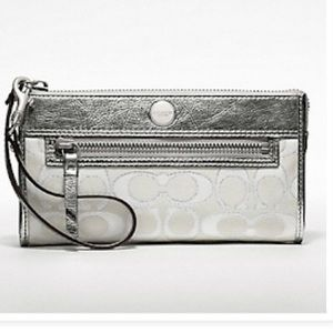 Coach Poppy Signature Sateen Metallic Zippy Wallet